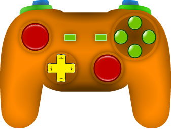 Diagram of gamepad outlining positioning of buttons as listed in the key below